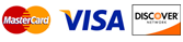 We accept MasterCard, Visa, and Discover as well as check or cash.